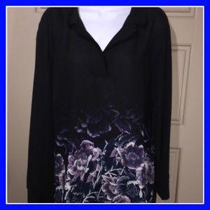 Sheer black & floral blouse